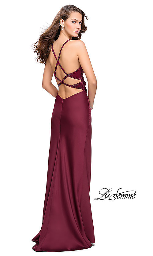 Image of long La Femme open-back satin prom dress with ruching. Style: LF-26036 Front Image
