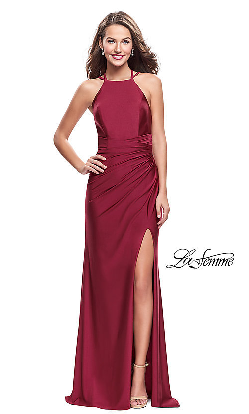 Image of long high-neck open-back prom dress with ruching. Style: LF-26141 Front Image