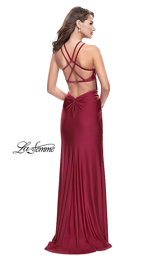 Image of long high-neck open-back prom dress with ruching. Style: LF-26141 Back Image