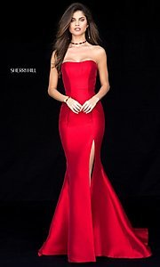 Image of strapless long Sherri Hill prom dress with train. Style: SH-51671 Front Image