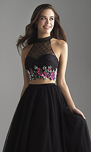 Image of long a-line two-piece designer prom dress. Style: NM-18-603 Detail Image 1