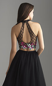 Image of long a-line two-piece designer prom dress. Style: NM-18-603 Detail Image 2