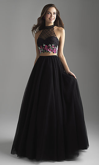Two-Piece Long A-Line Prom Dress with Mock Neckline