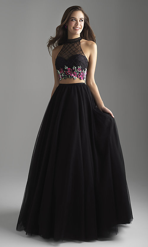 Image of long a-line two-piece designer prom dress. Style: NM-18-603 Front Image