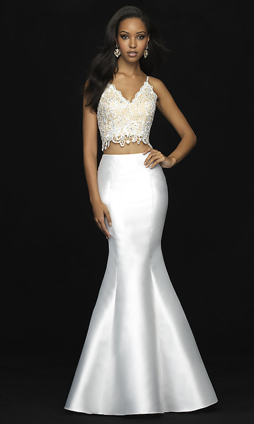 Image of lace-top long two-piece prom dress with corset. Style: NM-18-703 Detail Image 1