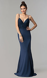 Image of long prom dress with v-neck lace bodice. Style: NM-18-579 Front Image