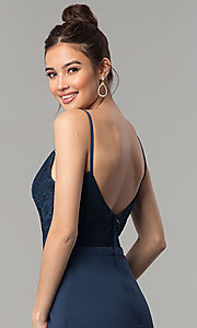 Image of long prom dress with v-neck lace bodice. Style: NM-18-579 Detail Image 2