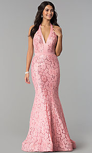 Image of long sequined-lace halter prom dress. Style: CD-1848 Detail Image 2