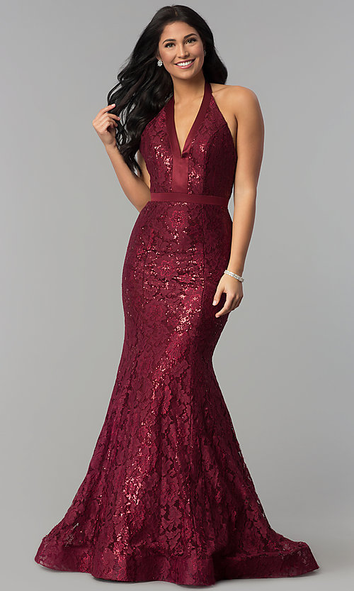 Image of long sequined-lace halter prom dress. Style: CD-1848 Front Image