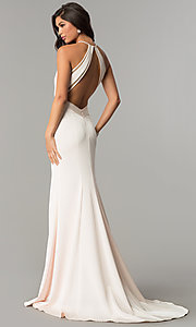 Image of low v-neck long formal evening dress with train. Style: CD-1931 Back Image