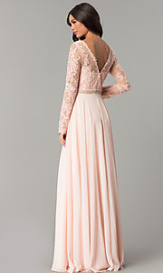 Image of long embroidered bateau-neck prom dress with sleeves. Style: CD-GL-G755 Back Image