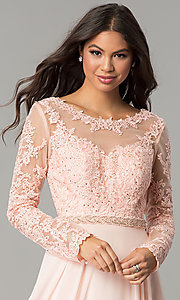 Image of long embroidered bateau-neck prom dress with sleeves. Style: CD-GL-G755 Detail Image 1