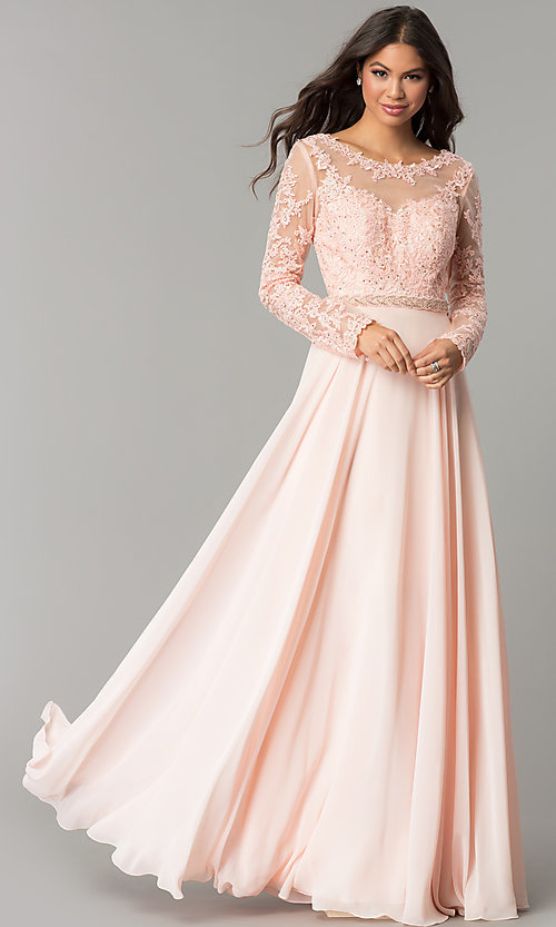 Long Embroidered Bateau,Neck Prom Dress with Sleeves