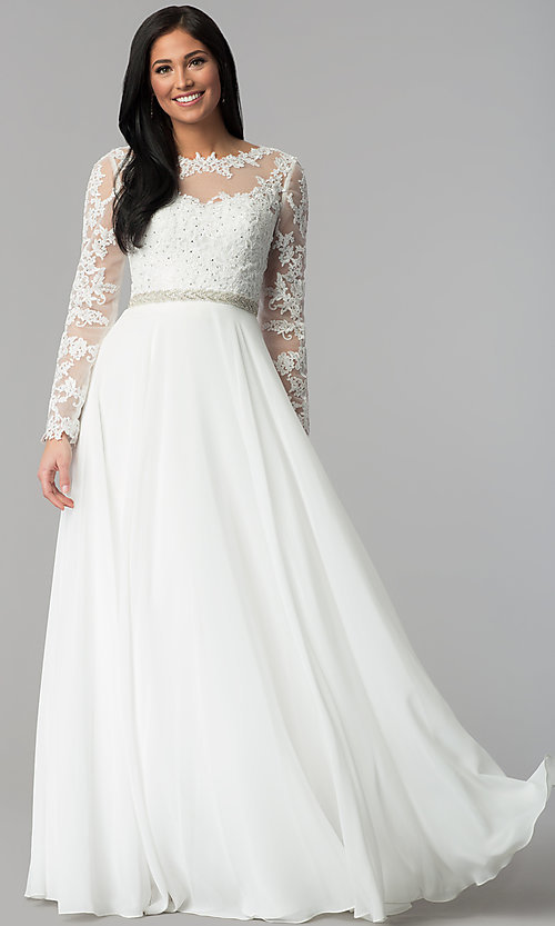 Image of long embroidered bateau-neck prom dress with sleeves. Style: CD-GL-G755 Detail Image 2