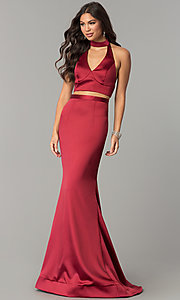 Image of long halter two-piece prom dress with v-neck cut out. Style: CD-GL-G770 Detail Image 2