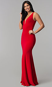 Image of long jersey mermaid prom dress with back cut outs. Style: CD-GL-G771 Detail Image 2