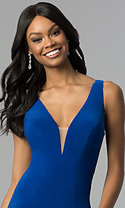 Image of long jersey mermaid prom dress with back cut outs. Style: CD-GL-G771 Detail Image 1