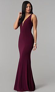 Image of long jersey mermaid prom dress with back cut outs. Style: CD-GL-G771 Detail Image 3
