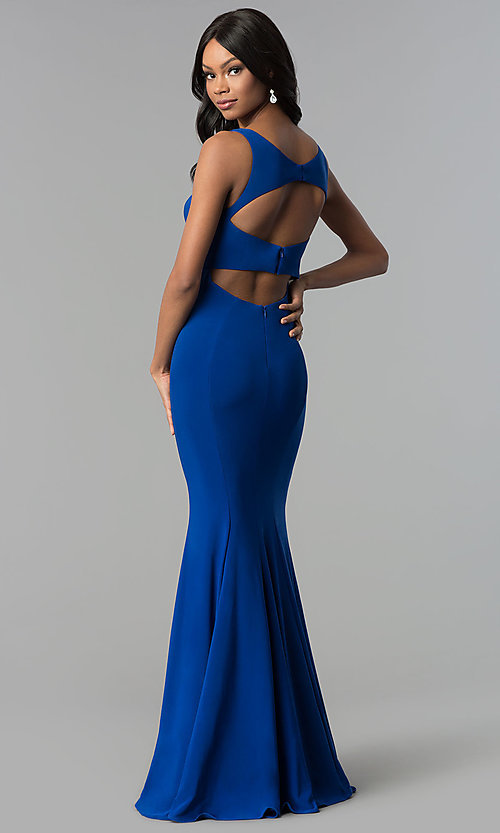 Image of long jersey mermaid prom dress with back cut outs. Style: CD-GL-G771 Back Image