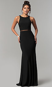 Image of long jersey scoop-neck prom dress with sheer insets. Style: CD-GL-G772 Detail Image 2