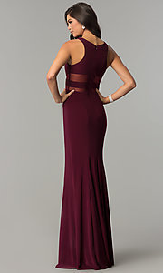 Image of long jersey scoop-neck prom dress with sheer insets. Style: CD-GL-G772 Back Image