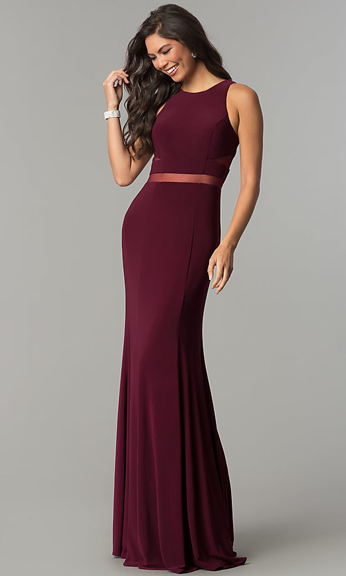 Image of long jersey scoop-neck prom dress with sheer insets. Style: CD-GL-G772 Front Image