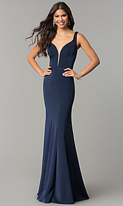Image of low-v-neck evening dress with back cut out. Style: CD-GL-G776 Front Image