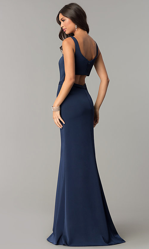 Image of low-v-neck evening dress with back cut out. Style: CD-GL-G776 Back Image