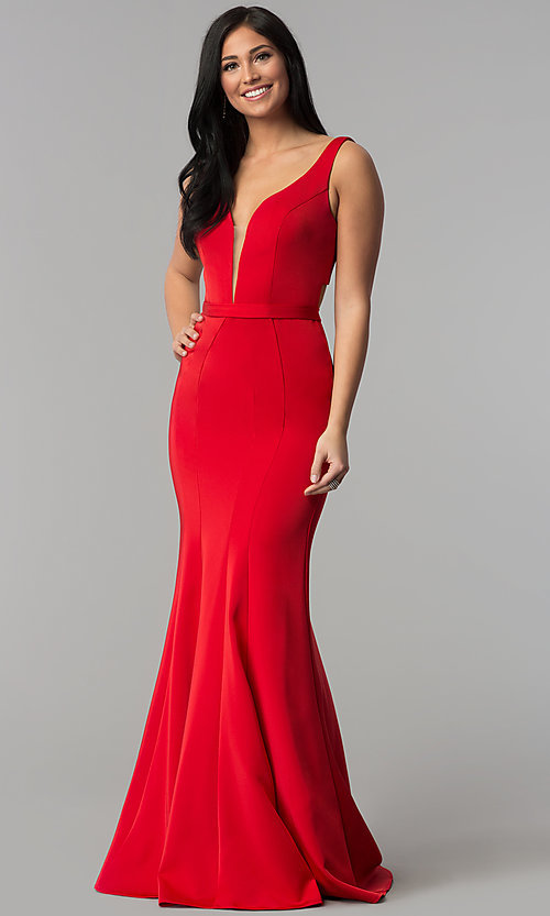 Image of low-v-neck evening dress with back cut out. Style: CD-GL-G776 Detail Image 2