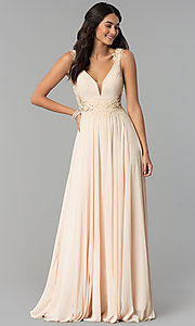Image of long v-neck chiffon prom dress with embroidery. Style: CD-GL-G781 Detail Image 2