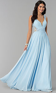 Image of long v-neck chiffon prom dress with embroidery. Style: CD-GL-G781 Detail Image 3