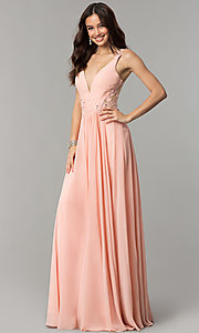 Image of long v-neck chiffon prom dress with embroidery. Style: CD-GL-G781 Front Image
