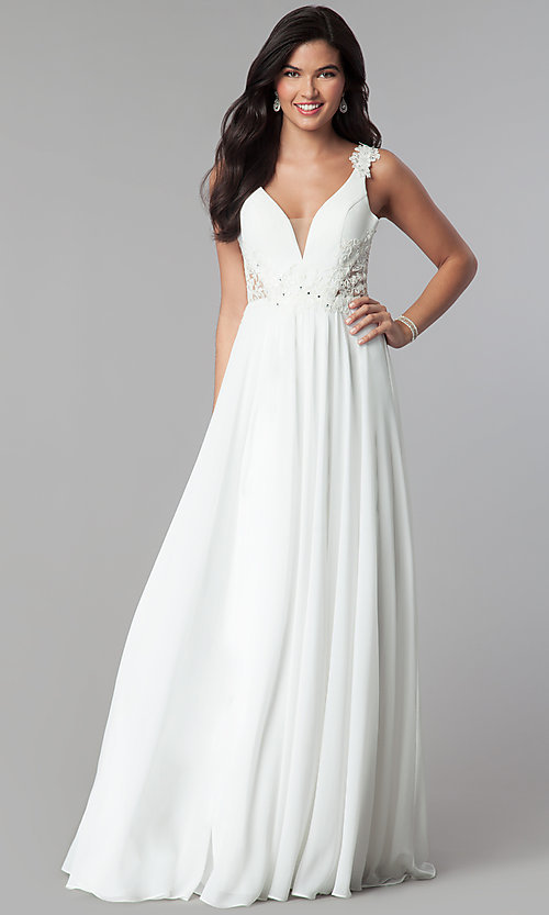 Image of long v-neck chiffon prom dress with embroidery. Style: CD-GL-G781 Detail Image 1