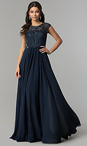 Image of long illusion-sweetheart prom dress with cap sleeves. Style: CD-GL-G790 Front Image