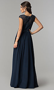 Image of long illusion-sweetheart prom dress with cap sleeves. Style: CD-GL-G790 Back Image