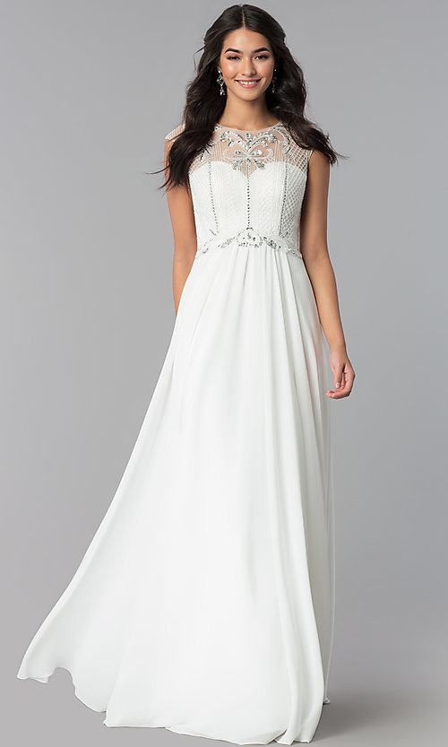 Image of long illusion-sweetheart prom dress with cap sleeves. Style: CD-GL-G790 Detail Image 2
