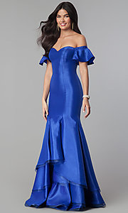 Image of off-the-shoulder princess-cut mermaid prom dress. Style: CD-GL-G793 Detail Image 2