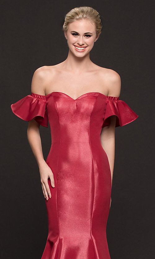 Image of off-the-shoulder princess-cut mermaid prom dress. Style: CD-GL-G793 Detail Image 1