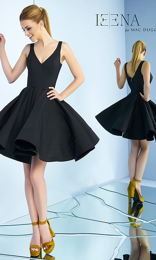 Image of sleeveless fit-and-flare party dress with v-neck. Style: MAC-48478i Back Image