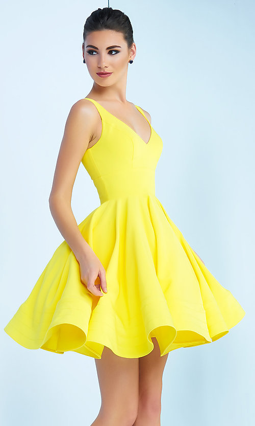 Image of sleeveless fit-and-flare party dress with v-neck. Style: MAC-48478i Front Image