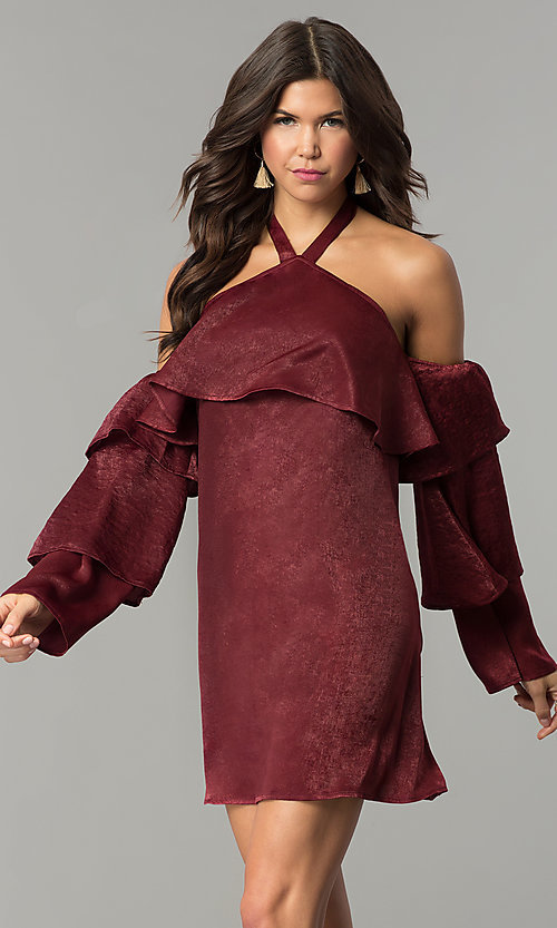 Image of tiered-sleeve off-the-shoulder halter party dress. Style: BLH-DD1155 Front Image