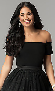 Image of short black party dress with glitter stars. Style: AL-HL-111S Detail Image 1
