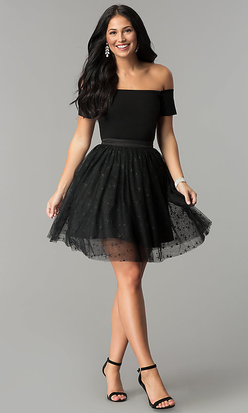 Image of short black party dress with glitter stars. Style: AL-HL-111S Detail Image 2