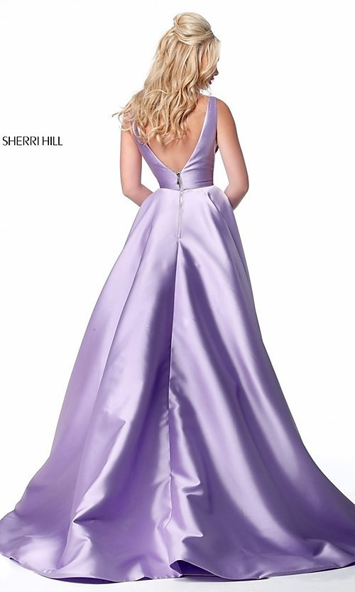 Image of a-line long Sherri Hill prom dress with pockets. Style: SH-51856 Back Image