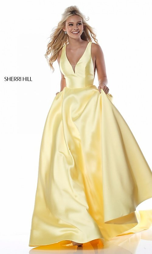 Image of a-line long Sherri Hill prom dress with pockets. Style: SH-51856 Detail Image 1