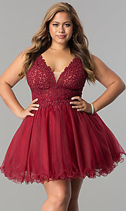 Image of plus-size short v-neck lace-bodice homecoming dress. Style: DQ-2054P Detail Image 1