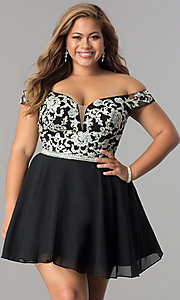 Image of off-the-shoulder plus-size short homecoming dress. Style: DQ-9983P Detail Image 2