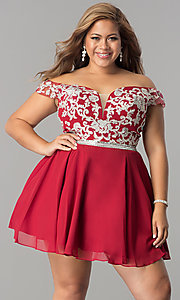 Image of off-the-shoulder plus-size short homecoming dress. Style: DQ-9983P Front Image