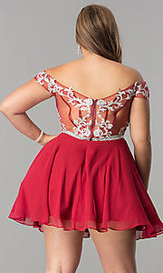 Image of off-the-shoulder plus-size short homecoming dress. Style: DQ-9983P Back Image