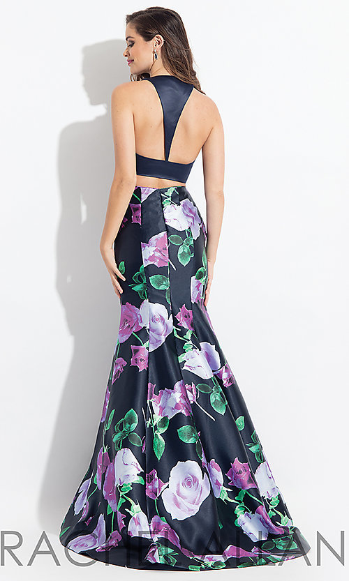 Image of t-back print two-piece v-neck prom dress. Style: PT-RA-6134 Back Image